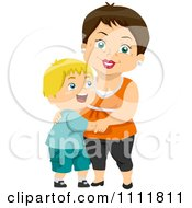 Clipart Happy Boy Hugging His Grandma Royalty Free Vector Illustration
