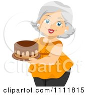 Clipart Happy Female Senior Citizen Holding A Cake With Chocolate Frosting Royalty Free Vector Illustration
