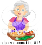 Clipart Happy Female Senior Citizen Chopping Veggies Royalty Free Vector Illustration