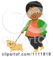 Clipart Happy Black Female Senior Citizen Walking A Dog Royalty Free Vector Illustration