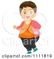 Clipart Happy Female Senior Citizen Jogging Royalty Free Vector Illustration