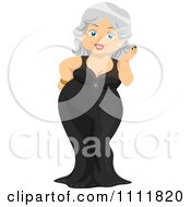 Clipart Happy Female Senior Citizen In A Formal Gown Royalty Free Vector Illustration