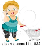 Clipart Happy Female Senior Citizen Talking On A Cell Phone And Pushing A Shopping Cart Royalty Free Vector Illustration