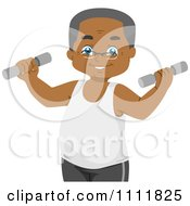 Happy Black Male Senior Citizen Lifting Weights