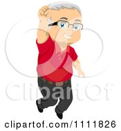 Clipart Happy Male Senior Citizen Jumping Royalty Free Vector Illustration