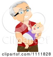 Clipart Happy Male Senior Citizen Holding A Baby Grandchild Royalty Free Vector Illustration