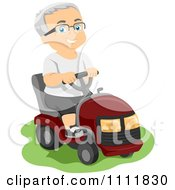Clipart Happy Male Senior Citizen Operating A Riding Lawn Mower Royalty Free Vector Illustration