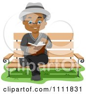Clipart Happy Black Male Senior Citizen Reading On A Park Bench Royalty Free Vector Illustration