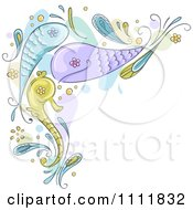 Clipart Paisley Fish Corner Design Element Royalty Free Vector Illustration