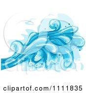 Clipart Large Blue Ocean Waves Splashing Royalty Free Vector Illustration