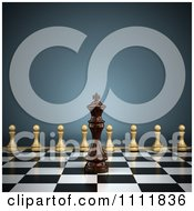 3d Chess King On A Chess Board With Pawns Lined Up For Battle