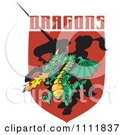 Dragon And Silhouetted Knight Shield With Text