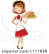 Clipart Happy Retro Woman Carrying A Roasted Thanksgiving Or Christmas Turkey On A Platter Royalty Free Vector Illustration