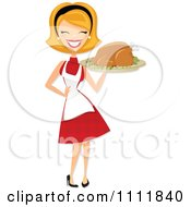 Clipart Happy Retro Blond Woman Carrying A Roasted Thanksgiving Or Christmas Turkey On A Platter Royalty Free Vector Illustration by Amanda Kate #COLLC1111840-0177