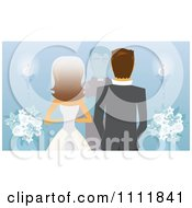 Rear View Of A Caucasian Bride Groom And Priest Or Pastor At The Alter On Blue