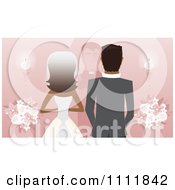 Clipart Rear View Of A Black Bride Groom And Priest Or Pastor At The Alter On Pink Royalty Free Vector Illustration