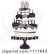 Three Tiered 50th Birthday Cake With Bats And Black Frosting