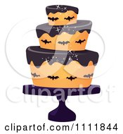 Clipart Three Tiered Halloween Cake With Bats And Black Frosting Royalty Free Vector Illustration