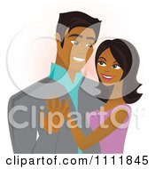 Clipart Happy Black Couple Embracing And Smiling Royalty Free Vector Illustration