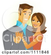 Clipart Happy Hispanic Couple Embracing And Smiling Royalty Free Vector Illustration