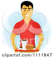 Clipart Happy Asian Man Carrying A Chicken Sandwich And Drink On A Cafeteria Tray Royalty Free Vector Illustration by Amanda Kate