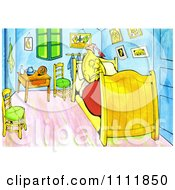 Clipart Banana Sleeping In A Bed Van Gogh Style Royalty Free Illustration