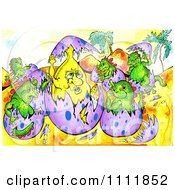 Clipart Banana Hatching From An Egg With Baby Dinosaurs Royalty Free Illustration