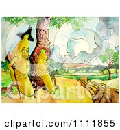 Clipart Banana And Wife With A Gun And Dog Royalty Free Illustration by Prawny