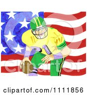 Clipart Football Player Over An American Flag 1 Royalty Free Illustration by Prawny