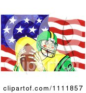 Clipart Football Player Over An American Flag 2 Royalty Free Illustration by Prawny
