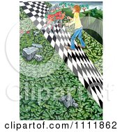 Clipart Soldiers Blocking A Man On A Checkered Path Royalty Free Illustration