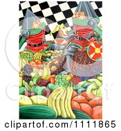 Clipart Soldiers Eating Fruits Over A Checkered Pattern Royalty Free Illustration by Prawny