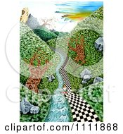 Clipart Soldier On A Checkered Path Along A Stream Royalty Free Illustration by Prawny