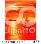 Clipart Red Coastal Sunset Over A Sailboat At Sea Royalty Free Illustration by Prawny