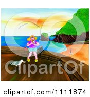 Clipart Woman Eating Lunch Above A Beach Royalty Free Illustration by Prawny