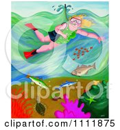 Clipart Chubby Woman Snorkeling Above Fish In The Sea Royalty Free Illustration by Prawny