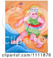 Clipart Chubby Woman Stepping Into The Surf On A Beach Royalty Free Illustration by Prawny