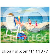 Clipart Person On A Beach Chair With Ice Cream And A View Of Children Making A Sand Castle Royalty Free Illustration by Prawny