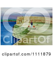 Clipart Man Fishing On A Coastal Pier Royalty Free Illustration by Prawny