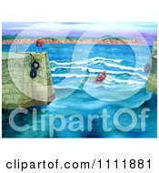 Clipart Rowing Club Entering A Harbor Royalty Free Illustration by Prawny