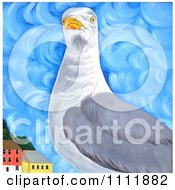 Clipart Seagull Near Coastal Buildings Royalty Free Illustration by Prawny