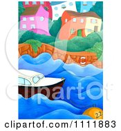 Clipart Wiggly Coastal Village With A Boat And Buoy Royalty Free Illustration