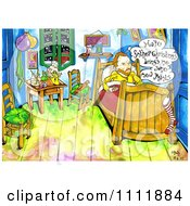 Clipart Christmas Van Gogh With A Stocking On His Bed Royalty Free Illustration