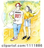 Clipart Happy Couple Looking At Each Other Royalty Free Illustration