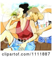 Clipart Man Kissing A Woman On The Shoulder Royalty Free Illustration by Prawny