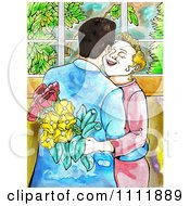 Clipart Happy Woman Accepting Flowers From A Man As They Hug Royalty Free Illustration