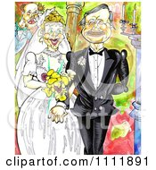 Clipart Pleased Wedding Couple Holding Hands Royalty Free Illustration by Prawny