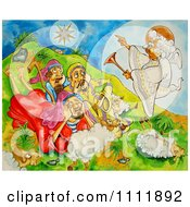 Clipart Angel Over Shepherds And Sheep Royalty Free Illustration