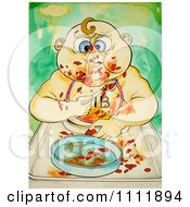 Clipart Messy Baby Eating Beans Royalty Free Illustration