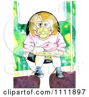Clipart Toddler Girl Going Potty On The Toilet Royalty Free Illustration by Prawny